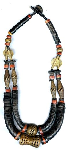 Cut nut Hishi with lost wax cast bead necklace wiith bauxite n from Niger(archives sold Singkiang)