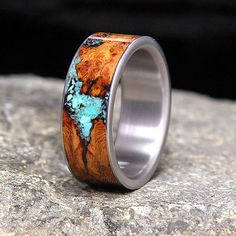 Black Cherry Burl Turquoise Inlay Titanium Wedding Band or U.- Black Cherry Burl Turquoise Inlay Titanium Wedding Band or Unique Ring - Titanium Wedding Rings, Titanium Rings, Bijoux Art Nouveau, Ring Pictures, Wood Rings, Wood Inlay Rings, Diy Schmuck, Stainless Steel Rings, Ring Verlobung