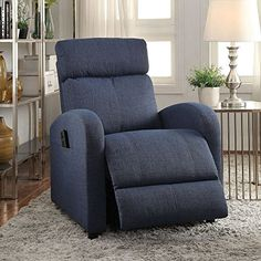 ACME Furniture 59347 Concha Recliner with Power Lift, Blue Fabric