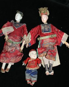 3X Chinese Opera Puppet Doll Old Vintage Antique japanese antique 19th c joblot