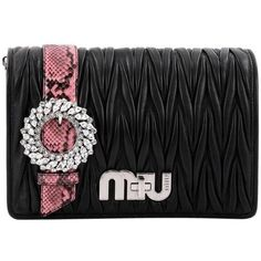 Preowned Miu Miu My Logo Shoulder Bag Matelasse Leather With Python... (€1.170) ❤ liked on Polyvore featuring bags, handbags, shoulder bags, black, shoulder hand bags, preowned handbags, python leather handbags, leather shoulder handbags and genuine leather purse