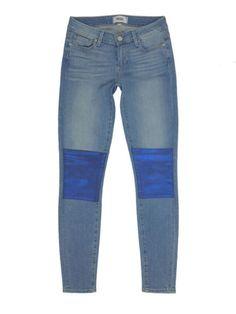1730ecb9ef4d9 Paige Verdugo Nico Blue Galaxy Coated Patch Blue Denim Skinny Jeans 26 $239  NWT | eBay