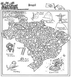 This free printable map worksheet of Brazil works