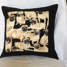 Pug Cushion Cover by PatchworkProjects on Etsy