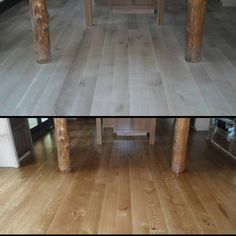 Before and after. White Oak with an Early American stain. Installed, sanded, and finished in Blue Mountain Lake, New York by Superior Floors.
