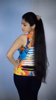 Long Hair Ponytail, Ponytail Hairstyles, Long Indian Hair, Fancy Tops, Super Long Hair, Cut My Hair, Silky Hair, Indian Hairstyles, India Beauty