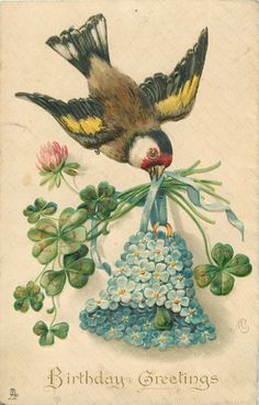 BIRTHDAY GREETINGS flying bird, forget-me-not bell, clover