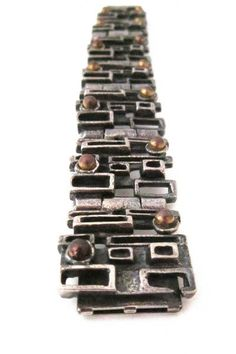 Robert Larin, Canada - brutalist pewter and bronze 'windows' bracelet
