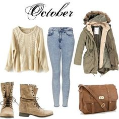 Cute fall/winter outfit! Boots, light wash jean, big comfy jacket, over the shoulder bag and a knitted sweater.