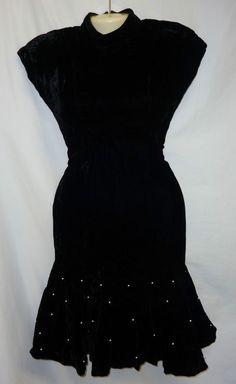 VTG 80's Taurus Nites 4 S Petite Velvet Black Drop Waist Dress Retro Pearl Net  #TaurusNites