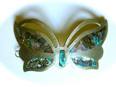 1970s Mexican Silver and Inlaid Abalone Large by JackpotJen, $22.50