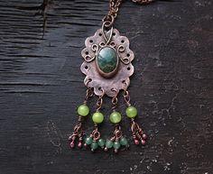 Agate Necklace Boho Pendant Copper Necklace by MaryBulanova