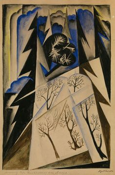Natalia Goncharova(Russian, 1881 – 1962) - Composition, N/D  Pencil, gouache and watercolour on paper