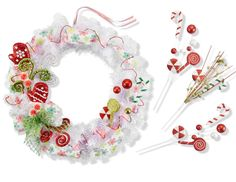 Transform a simple white wreath into a whimsical holiday decoration with colorful floral picks and ribbon.