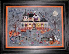 Praiseworthy Stitches Seedy Pumpkin Cottage - Cross Stitch Pattern. Model stitched on 32 Ct. Echo linen by Picture this Plus using floss from Gentle Arts Sample