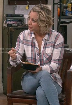 Penny's white plaid shirt on The Big Bang Theory.  Outfit Details: http://wornontv.net/54204/ #TheBigBangTheory