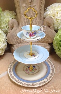 Three tier Cake Stand for sweets savories by HelensRoyalTeaHouse