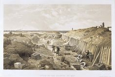 'Ditch of the Bastion Du Mat', by William Simpson, 1854 (lithograph). William Simpson (1823-99) was a Scottish painter who became noted for his depictions of the Crimean War (1853-6)