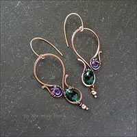 Strukova Elena - Earrings with amethyst and quartz