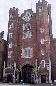 Main entrance of St James's Palace in Pall Mall survives from Henry VIII's palace. Athos and D'Artagnan meet Charles II in London. St James's Palace, Palace London, Royal Palace, Pall Mall, Hyde Park, St James' Park, Saint James, William Morris, Westminster
