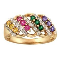 Birthstone Ring in 10K White or Yellow Gold by ArtCarved® (4 Stones)