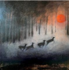 Deer Herd in woodlands at night by Catherine Hyde.