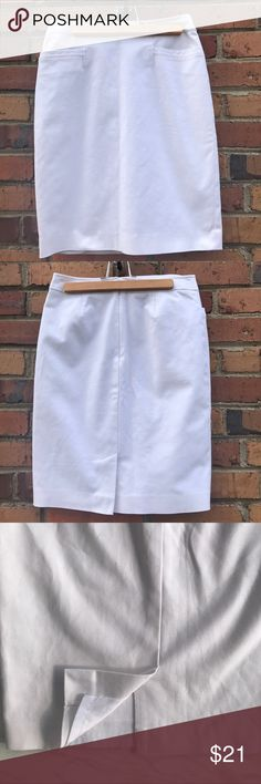 Halogen White Pencil Skirt Fully Lined Size 0 Up your fashion game with this white pencil skirt from Halogen. A white skirt is so versatile. An obvious choice for summer, you can also pair it with leggings and boots for a winter white look. Fully lined, there is a tear in the lining, as pictured. Originally purchased at Nordstrom, preowned from a smoke free home, in great used condition, only flaw is the tear in the lining. Check out the rest of my closet to create your own custom bundle…