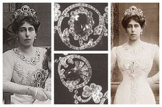 "For today's sapphire tiara, let's peek once more into the collection of the Edinburgh women: Grand Duchess Maria Alexandrovna of Russia, Duchess of Edinburgh (and later Duchess of Saxe-Coburg and Gotha), and her daughters, Alexandra, Marie, Beatrice, and Victoria Melita. This is the sapphire tiara that Maria Alexandrovna passed along to Victoria Melita, who was known by the ultra-royal sobriequet ""Ducky."""