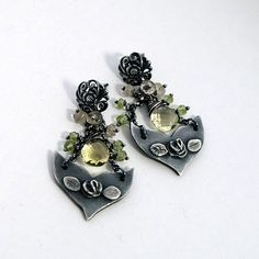 Roses earrings with citrine Silver Metalwork Jewelry by EsartFelt, zł199.00