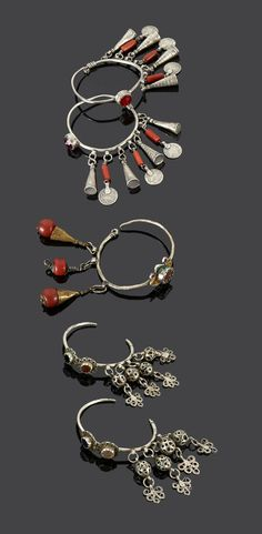 Morocco - Anti Atlas region | Earrings; two matching pairs. Silver, coral and enamel. | Sold (May '15)