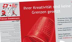 Beim Internetauftritt der Fahnenfabrik M. Stadelmann & Co, St.Gallen, durften wir das Konzept und das Design  der Website realisieren.