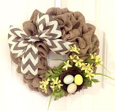 Spring Wreath, Easter Wreath, Front Door Wreath, Burlap Wreath, Bird Nest Wreath, Flower Wreath, Chevron Wreath, Yellow Wreath, Spring Decor by JennysWreathBoutique on Etsy https://www.etsy.com/listing/266389092/spring-wreath-easter-wreath-front-door