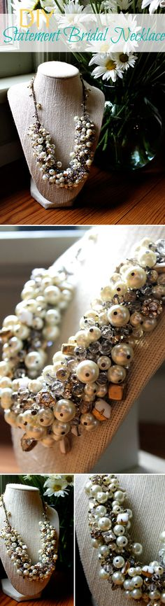DIY NECKLACE :: Statement Bridal Necklace (a.k.a. Beaded Bib Necklace) Tutorial :: Pictures & step by step instructions! GORGEOUS! | #bibnecklace #missloviecreation