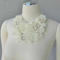 One Of A Kind Ivory Chiffon Roses Bib Necklace With Faux Pearl And Rhinestones