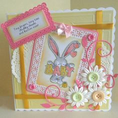 Bebunni baby stamp, Die'Sire Grace frame die, 8 x 8 Celtic frame Embossalicious folder, yellow pastel Centura Pearl Card - from Crafter's Companion