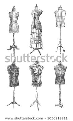 Tailor's dummy for female and male body. Retro Illustration in ancient engraving style Vintage Mannequin, Retro Illustration, Male Body, My Room, Venetian, Stencils, Royalty Free Stock Photos, Female, Pictures