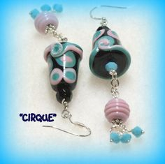 Turquoise Lampwork and Sterling Silver Dangle Earrings, Pink Earrings, Blue Earrings, Black Earrings -  by Shelsee Designs