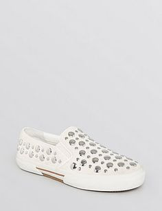 MICHAEL MICHAEL KORS Boerum Studded Slip On Sneakers , Active Chalk