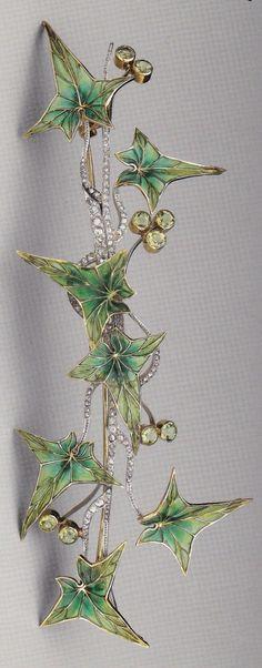 Art Nouveau Platinum, Gold, Enamel, Diamond & Peridot 'Ivy' Brooch -- Circa 1900 -- Likely Austrian.: