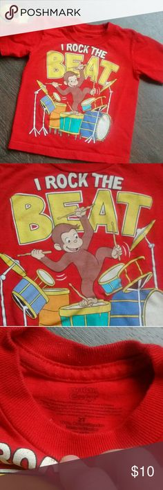 "Curious George ""I Rock the beat"" curious George tee shirt 100% cotton Shirts & Tops Tees - Short Sleeve"