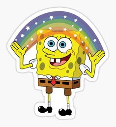 'Spongebob Imagination' Sticker by kirkdstevens - The Effective Pictures We Offer You About diy home decor A quality picture can tell you many thing - Spongebob Painting, Spongebob Drawings, Meme Stickers, Tumblr Stickers, Laptop Stickers, Imagination Spongebob, Beer Pong Tables, Painted Jeans, Cute Disney Wallpaper