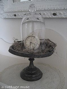Cloche Call - great idea for my bell jar and cake stand collections