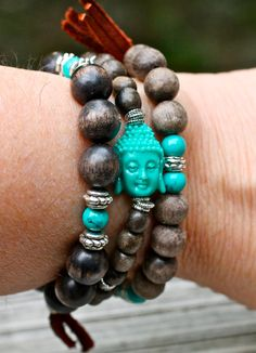 Wood Bangles Stretch Bracelets Gray Wood Turquoise by amyfine