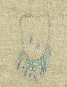 Turquoise and Silver Feather Necklace and Earring Set - Jewelry - Accessories
