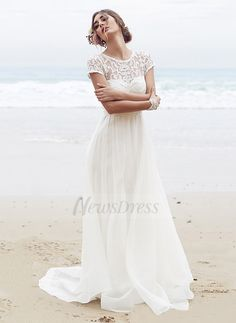 A-Line/Princess Scoop Neck Court Train Ruffle Sequins Bow(s) Chiffon Zipper Up at Side Sleeves Short Sleeves Church Beach Hall Garden / Outdoor Reception General No Spring Summer Fall Ivory White Wedding Dress