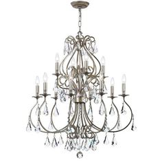 Crystorama Lighting Group Ashton Olde Silver 12 Light Chandelier With Hand Cut Crystal On SALE