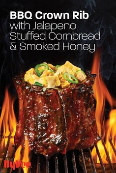 Show off to your family and friends with this impressive crown rib glazed with Moe Cason I-20 BBQ Sauce from Hy-Vee. Chicken And Veggie Recipes, Kitchen Twine, Grill Rack, Barbeque Sauce, Rib Roast, Good Burger, Recipe Using, Cornbread