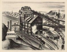 Riva Helfond Signed Litho No 6 Colliery Coal WPA 1930's Framed Burl Print LE 25 #Realism