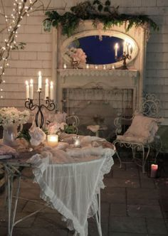 Romantic candle lit porch.