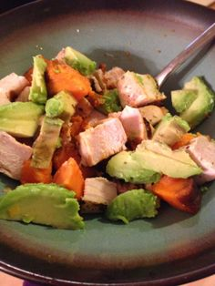 3 ingredient meal - chicken, sweet potato, and avocado